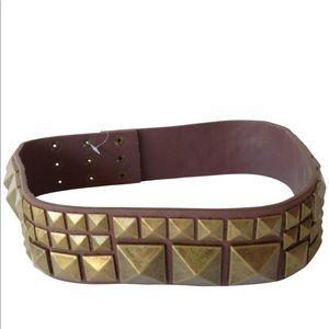 BCBG waist belt brass studded genuine leather